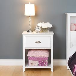 1Drawer Tall Nightstand in White Finish