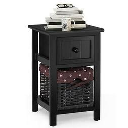 2 Tier Mini Nightstand 1 Drawer Bedside End Table Organizer