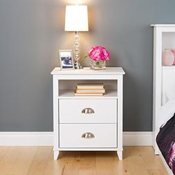2Drawer Tall Nightstand in White Finish