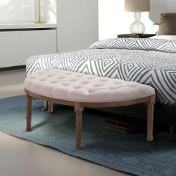 """55"""" Tufted Accent Vanity Entryway Bed End Bench Seat with Ru"""
