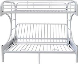 ACME Furniture Eclipse Metal Twin Over Futon Bunk Bed in Whi