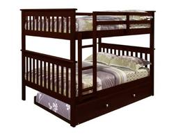 DONCO Bunk Bed Full over Full Trundle in Cappuccino