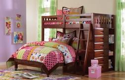 Discovery World Furniture Twin Over Full Loft Bed in Merlot