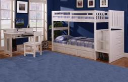 Discovery World Furniture Twin Over Twin Stair Stepper Bed w