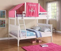 Donco Kids Twin Over Full Mission Bunk Bed with Tent Kit in