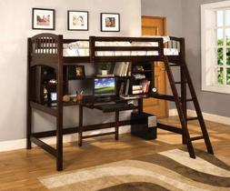 Furniture of America Ashby Twin Loft Bed with Workstation, E