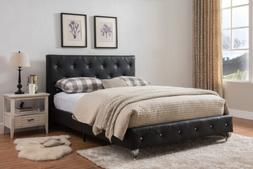 Kings Brand Furniture - Black Faux Leather King Size Upholst