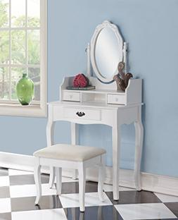 Roundhill Furniture Ribbon Wood Make-Up Vanity Table and Sto