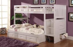 Twin Over Full Stair Stepper Bed with 3 Drawers in White Fin