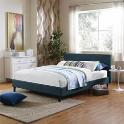 Modway Anya Fabric Upholstered Full Platform Bed in Azure