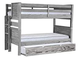 Bedz King BK925EL-Gray-Trundle Bunk Beds Mission Style with