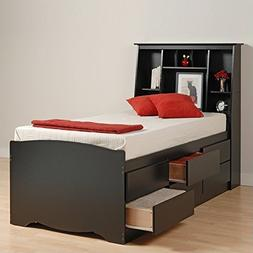 Prepac Black Sonoma Tall Queen Bookcase Platform Storage Bed