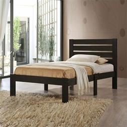 Brown Twin Wooden Platform Wood Bed Frame with Slat Support