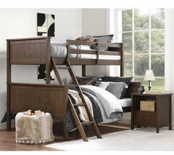 Bunk Beds Twin Over Full Detachable w/ Ladder Wood Mocha For