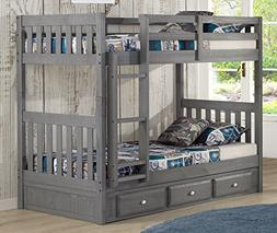 Discovery World Furniture Charcoal Twin Over Twin Bunk Bed w