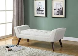 Home Life Curved Foot Bench with Tufted Accents Textured Lin