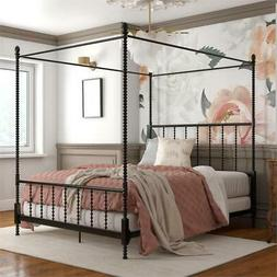 DHP Emerson Metal Canopy Bed in Queen Size Frame in Black