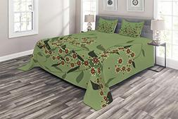 Ambesonne Floral Coverlet Set King Size, Retro Blooming Grap