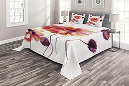Ambesonne Floral Coverlet Set Queen Size, Watercolor Paintin