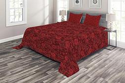 Ambesonne Flower Coverlet Set King Size, Floral Details with