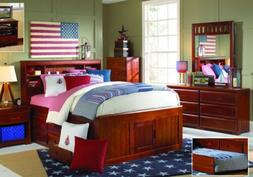 Full Size Captains Bed with Bookcase Headboard and Six Stora