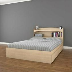 Nexera Full Size Storage Bed with Headboard in Natural Maple