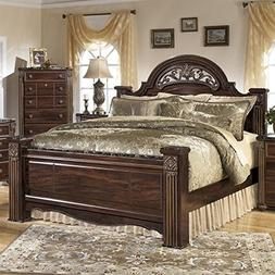Ashley Gabriela Wood King Poster Panel Bed in Brown
