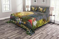 Ambesonne Garden Bedspread Set King Size, Fairies Playing in