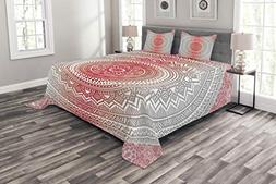 Ambesonne Grey and Red Bedspread Set King Size, Hippie Ombre