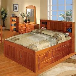 Discovery World Furniture Honey Bookcase Captains Bed Full w