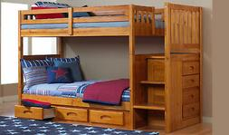 honey staircase mission bunk bed twin twin