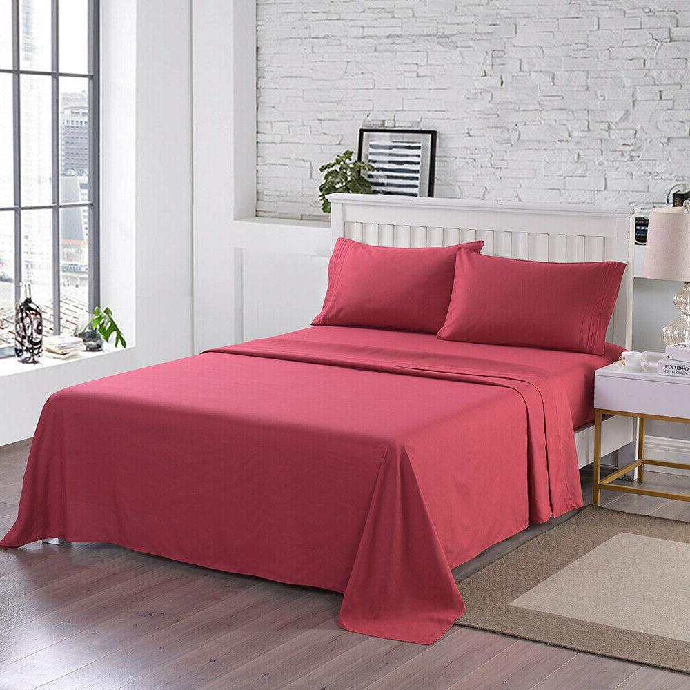 4 Fitted Bed Sheet Set Egyptian 2200 pocket Sheets