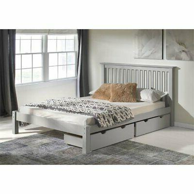 Alaterre Platform Bed Drawers in Dove Gray