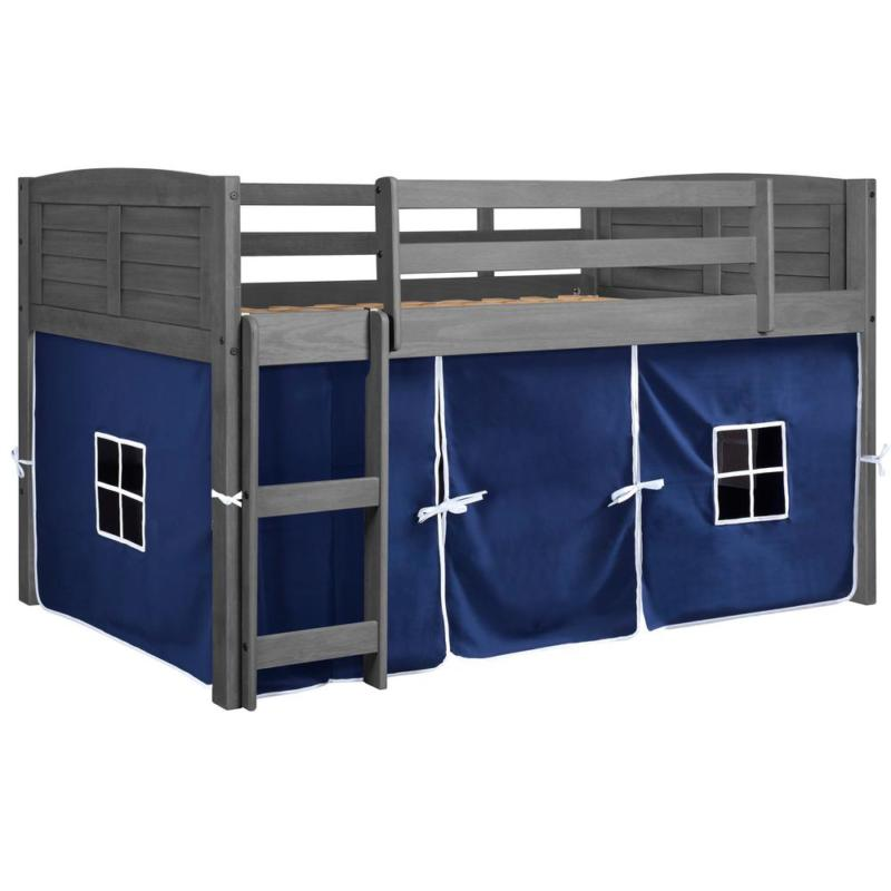 Antique Grey Wooden Twin Louver Low Loft Bed with Blue Tent
