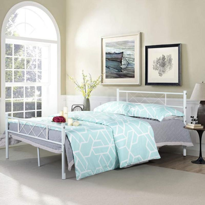 Full Size Metal Bed Frame Mattress with Headboard & Footboard