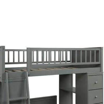 Gray Over Bunk Twin Wood Bedding Set