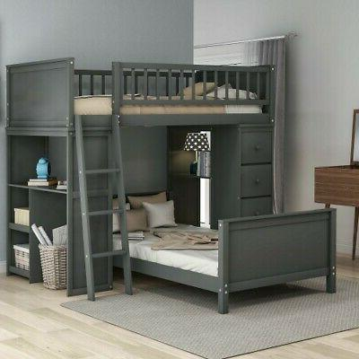 gray twin over twin bunk beds loft