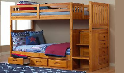Discovery Furniture Honey Staircase Mission Bunk Twin/Twin