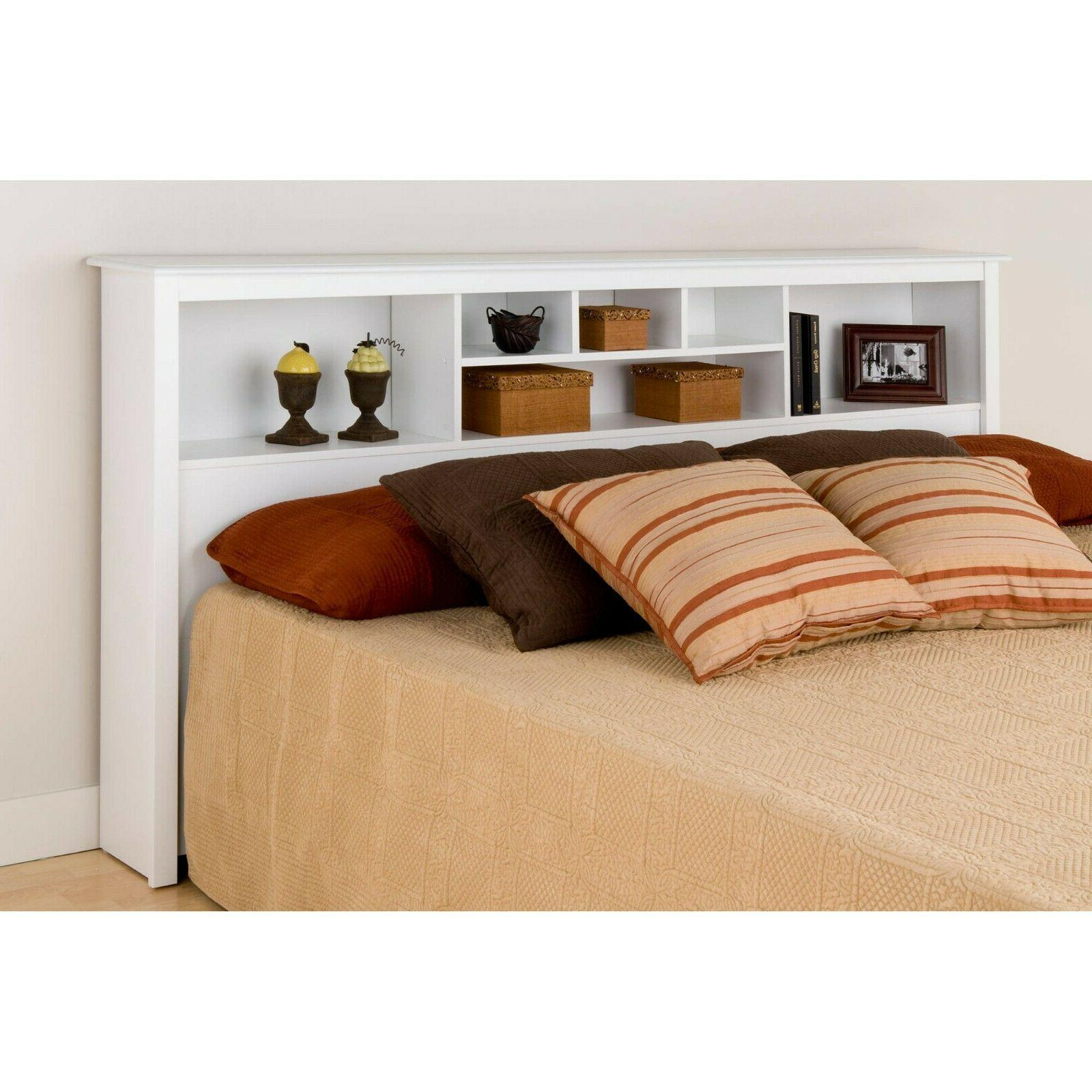 Modern KING Size White Bookcase Headboard Bed Bedroom Wood F
