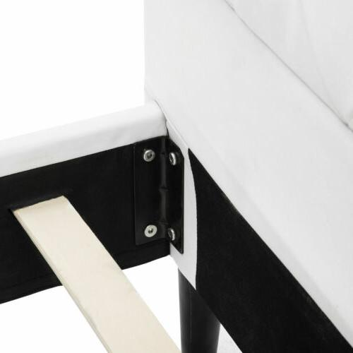 Queen PU Metal Frame Button Tufted Upholstered