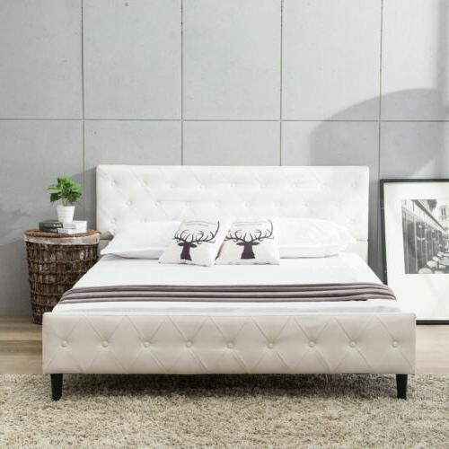 Queen Metal Bed Frame Button Upholstered