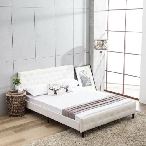 queen size pu leather metal bed frame