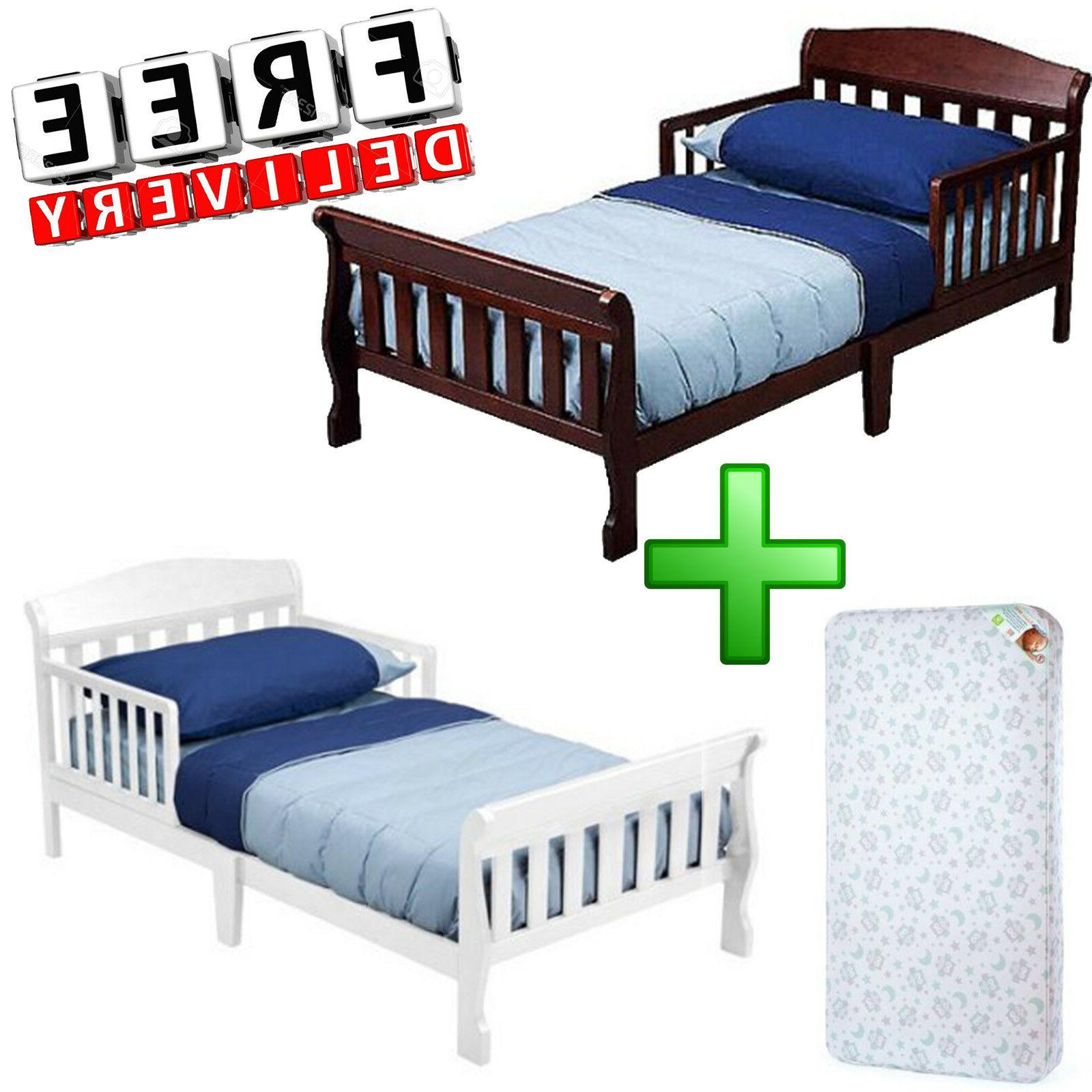 Toddler Bed With Mattress Wood Girl Boy Furniture Bedroom Ch