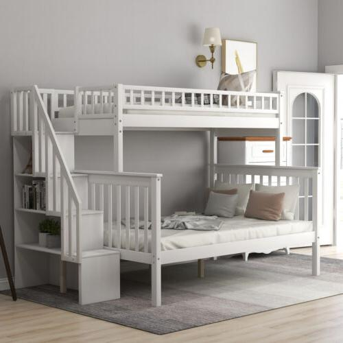 Twin Over Full Bunk Beds Kids Adult Wood Loft Bunk bed with