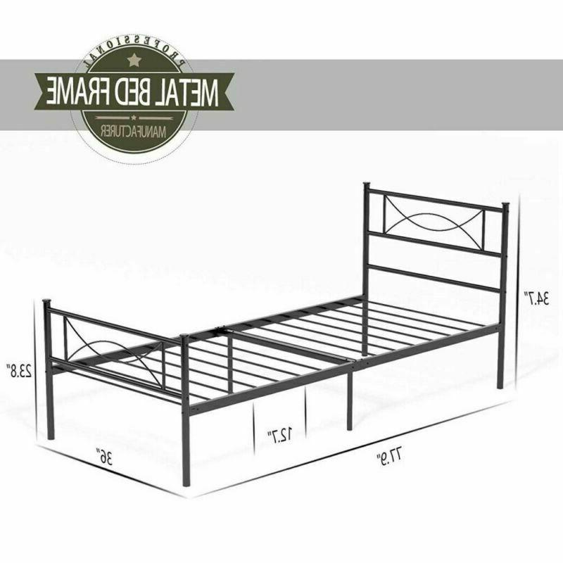 Twin Size Metal Frame Foundation with Headboard