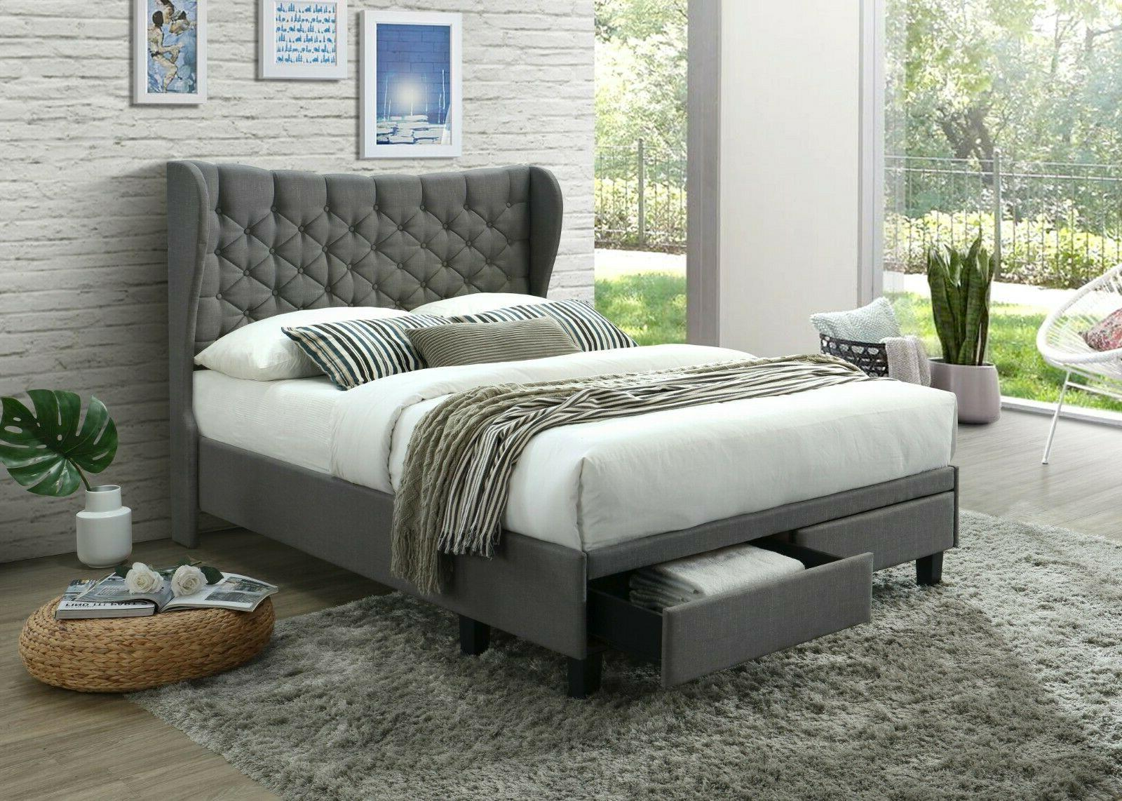upholstered cloth platform bed with headboard