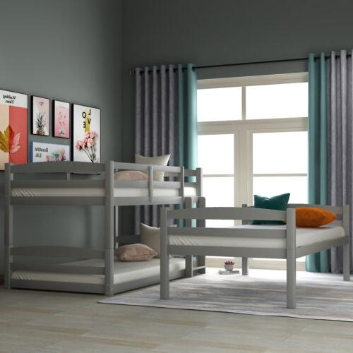 White/Gray Finish Wood Over Twin Beds
