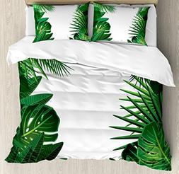 Ambesonne Leaves Duvet Cover Set Queen Size, Exotic Fantasy