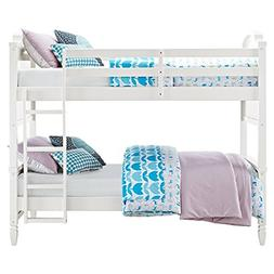 Dorel Living Vivienne Twin over Twin Bunk Bed in White