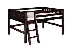 Full Low Loft Bed with Lateral Ladder and Mission Headboard,